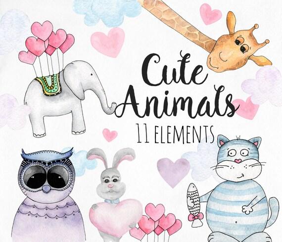 Watercolor animals clip art Cute kids clipart Cartoon | Etsy