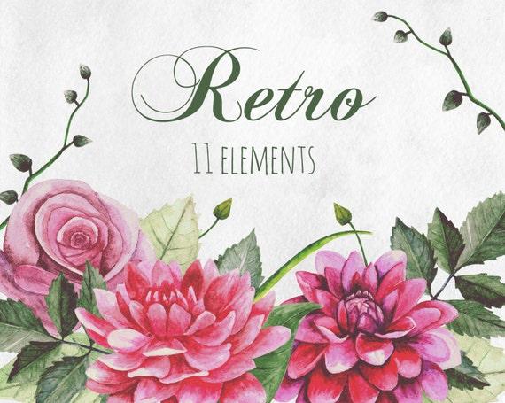 Clip De Flores Retros Flores Vintage Acuarela Arte Grafico Etsy