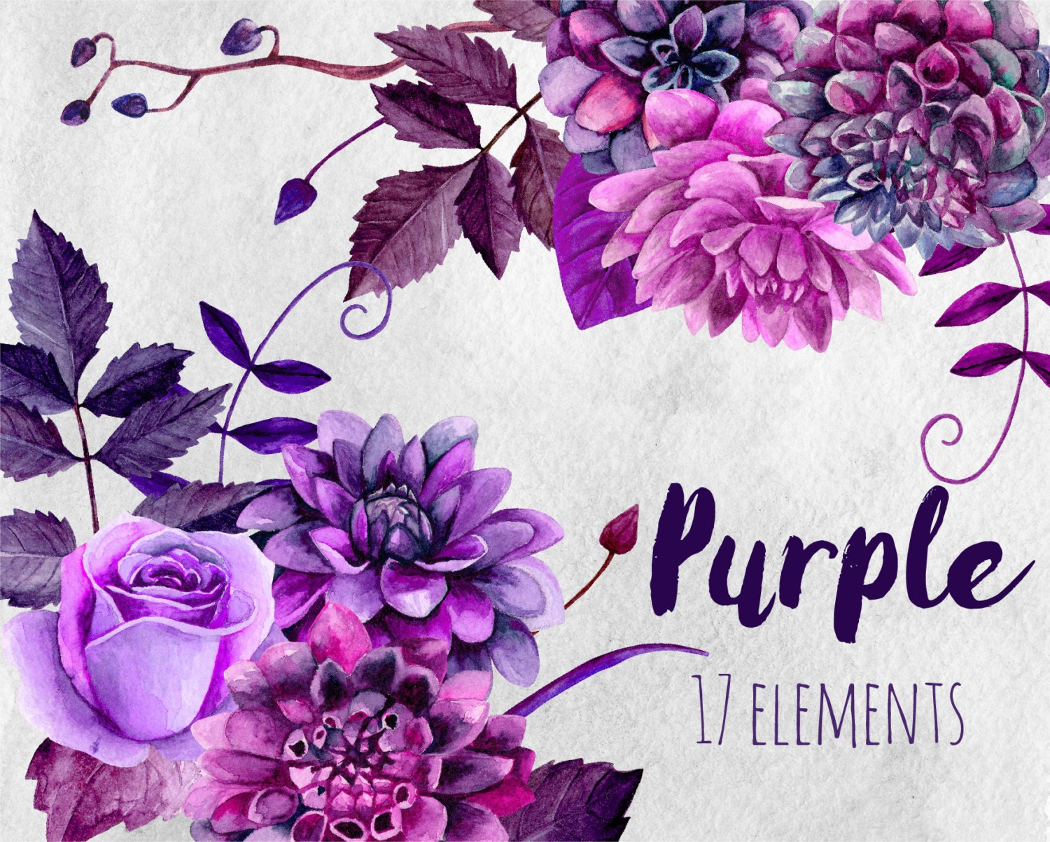 It is a picture of Clever Purple Flowers Drawing