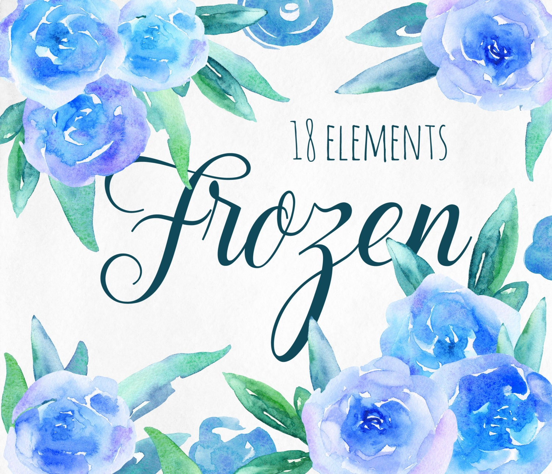 Blue flowers clip art Teal floral clipart Winter flowers ...