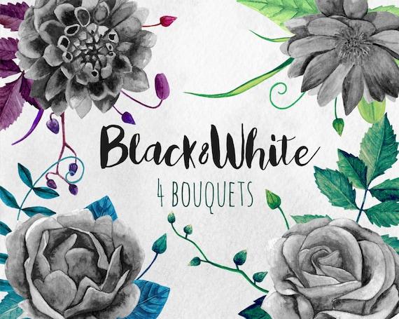 Schwarz Weiss Blumen Clipart Kunst Aquarell Blumenstrauss Etsy
