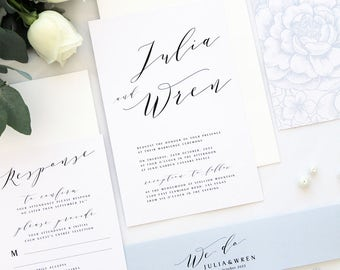 Julia Elegant Calligraphy Wedding Invitation Sets, Printable Wedding Invitations or Printed Cards, Silver Grey Dusty Blue Wedding Invitation