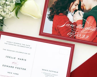 Ria Postcard Save the Date Cards, Printable Save the Date or Printed Cards, Christmas Wedding, Photo Save the Date Cards