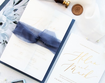 Daphné Dusty Blue Wedding Invitation Sets, Foil Invitations,  Silk Belly Bands, Dusty Blue Envelopes with Liners, Letterpress Invitations