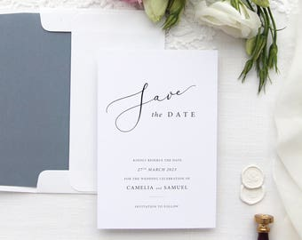 1ba2d4513acbb Charlotte Save the Date Cards, Save the Date Templates or Printed Save the  Date Cards, Custom Colors, Dusty Blue Navy White