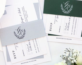 Ivy Modern Calligraphy Wedding Invitation Sets, Printable Wedding Invitations or Printed Sets, Wreath Belly Bands Invitation, RSVP postcard