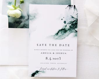 Joselyn Watercolour Save the Date Cards, Printable Save the Date Cards or Printed Save the Date Cards, Green Save the Date