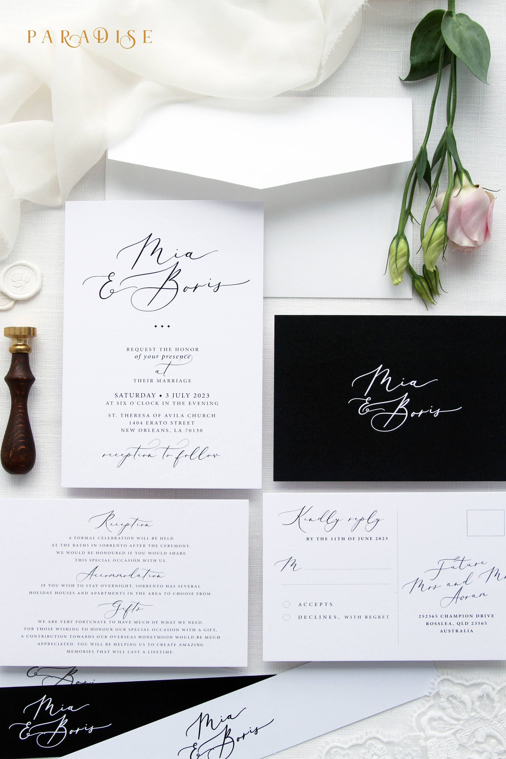 Mila Black and White Wedding Invitation Sets Calligraphy