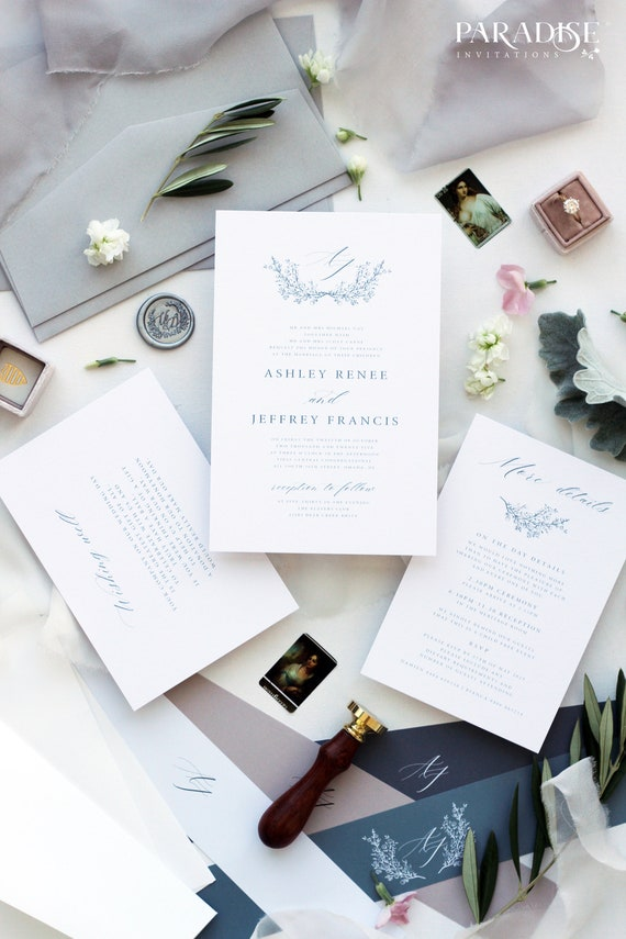 Hand Drawn Floral Invitations Elegant Invitations Vellum Invitations Benicia Vellum Paper Wedding Invitations Modern Invitations