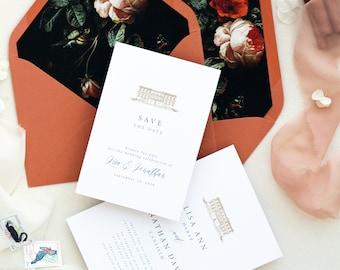 Abelle Terracotta Save the Date Cards, Printable Save the Date or Printed Save the Date Cards, Terracotta Envelopes, Vintage floral liners