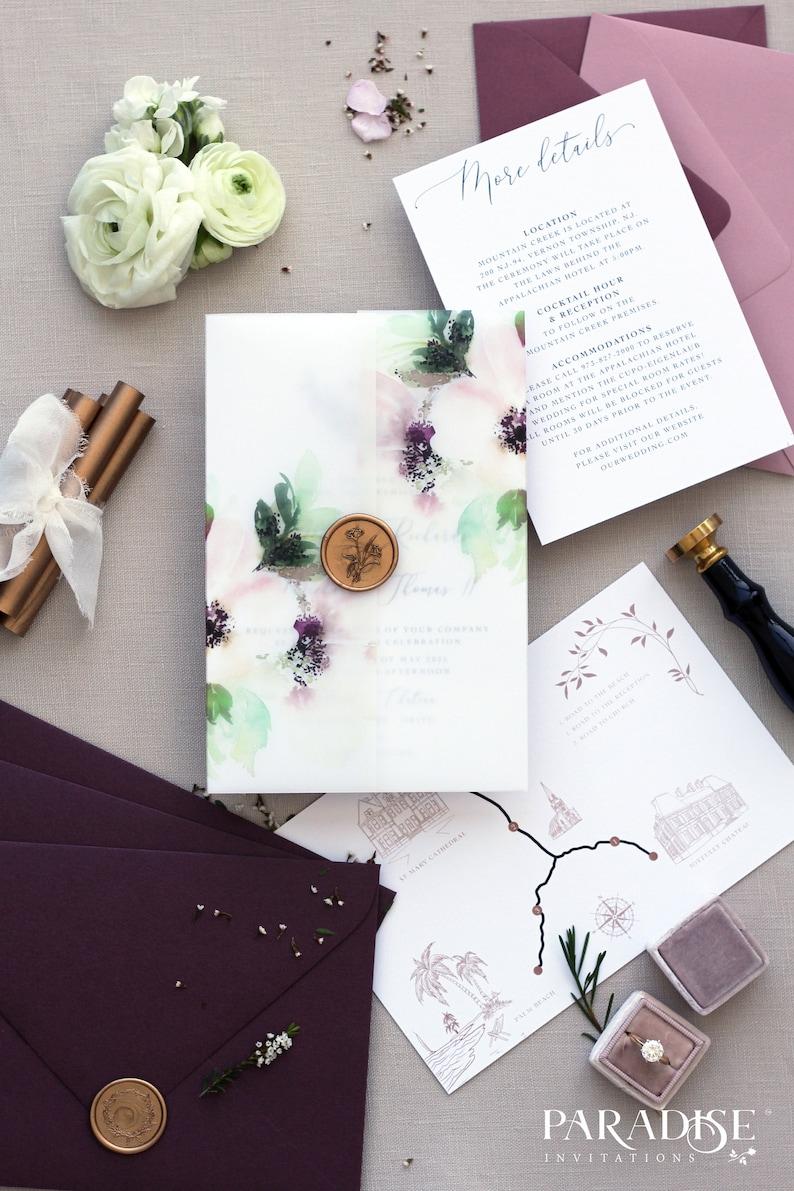 Printable or Printed Wax Seals Alexandrie Floral Monogram Wedding Invitation Sets Elegant and Modern Wreath Invitation Sets Envelopes