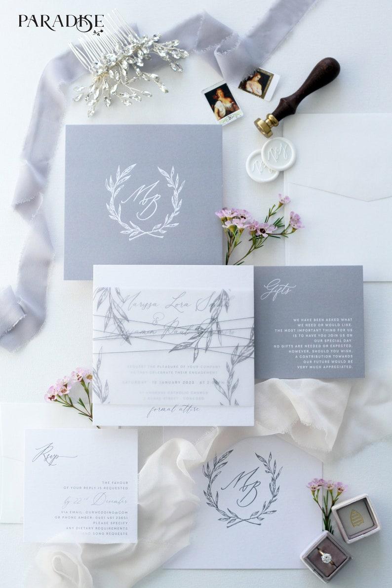 Modern Calligraphy Invitations Bertille Square Wedding Invitation Sets Wedding Stationery Silver and white Custom Invites