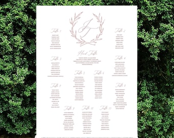Wreath Table Seating Chart, Baptism Chart, Printable or Printed Charts, Custom Colors, Sizes, Table Numbers, Landscape or Portrait