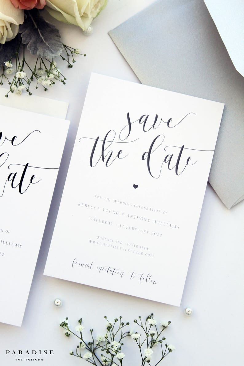 Save the Date Template or Printed Save the Date Cards Grey Metallics Rebecca Silver and Black Heart Save the Date Cards Wedding Stationery