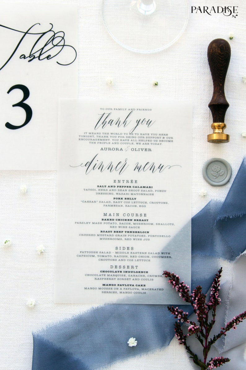 Leondra Vellum Paper Menu Wedding Menus Beach Table Stationery Calligraphy Transparent Custom
