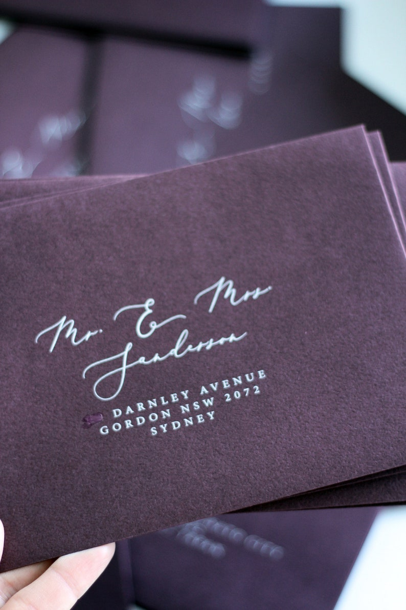 Oxblood Envelopes White Ink Printing Multiple Color Available High Quality Envelopes