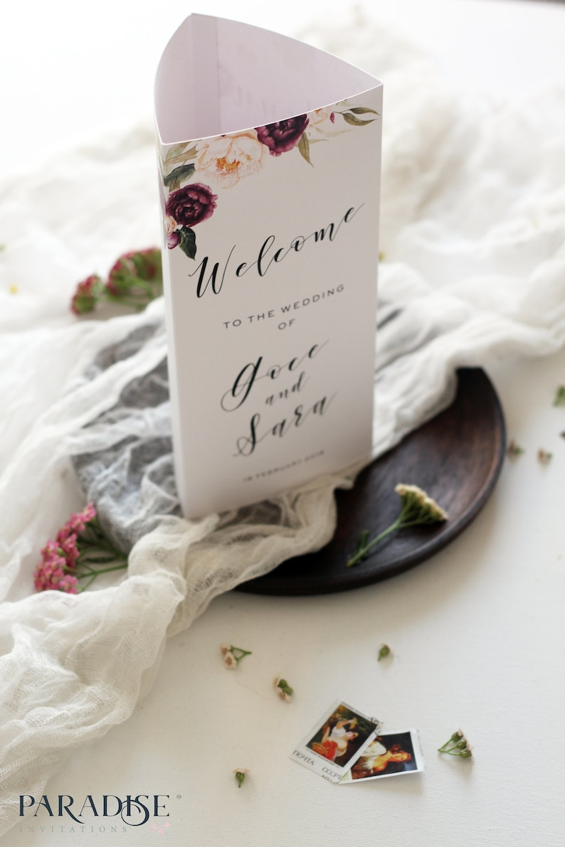 Verity Burgundy Tri Fold Menu Hand Painted Watercolor Stationery Printable or Printed Wedding Menus Wedding Table Stationery