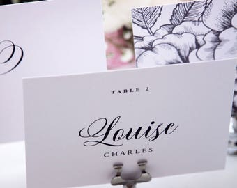 Andrea Modern Script Place Cards, Name Cards, Printable Place cards or Printed Place Cards, Names and Table Numbers, Place Card Holder
