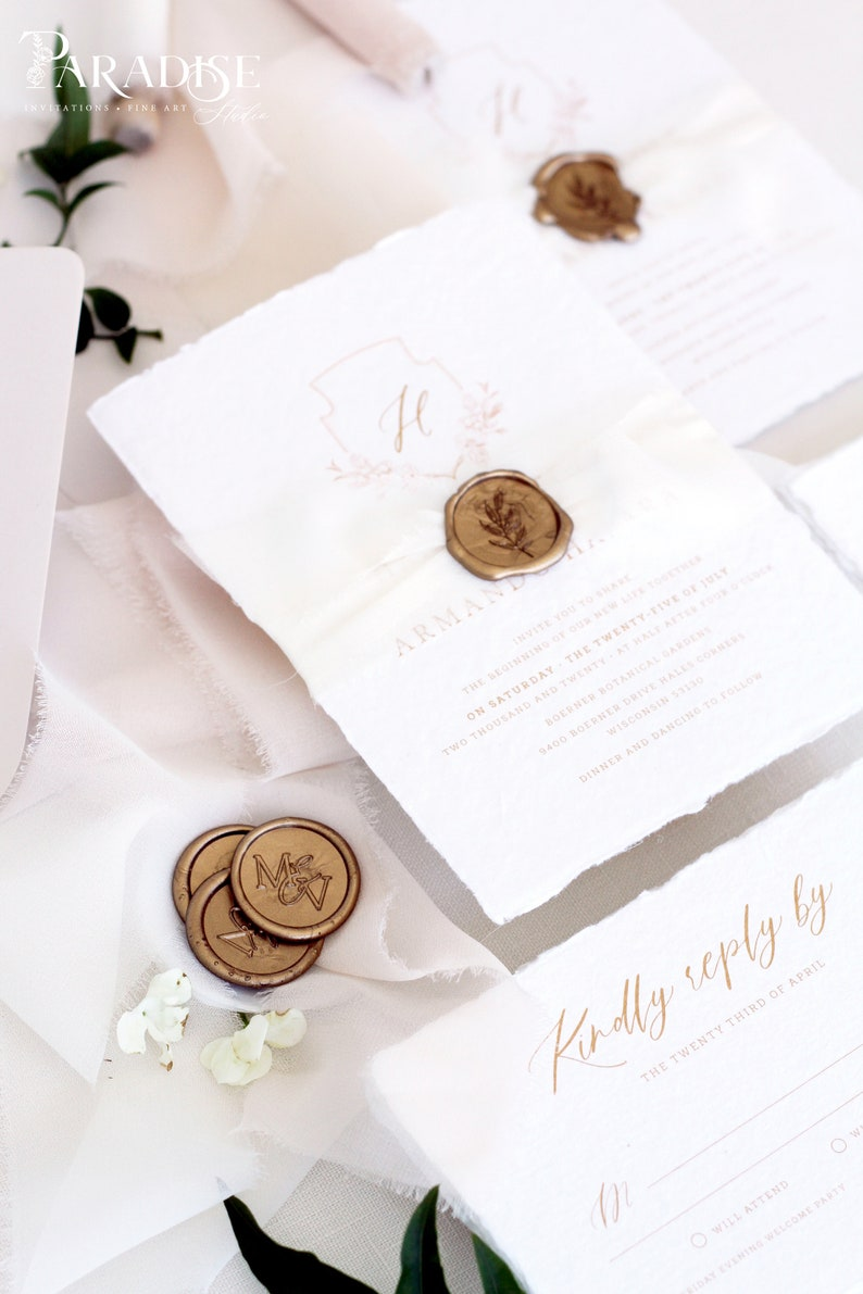 Deckled Edges Invitations DEPOSIT Aphrodite Handmade Wedding Invitation Sets Silk Ribbons Wax Seals Wedding Stationery