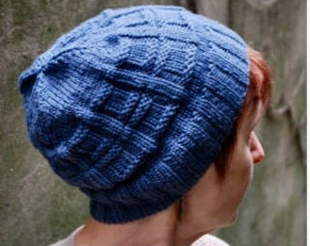 Hand Knit Washable Merino Wool Naval Square Beanie