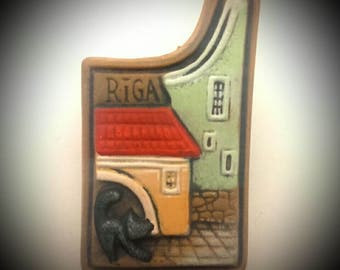 Latvian Ceramic Handmade Fridge Magnet Old Riga Tourist Travel Souvenir & Gift