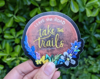 Nature Inspired Trail Walker Sticker Chalkboard Style Pythagoras Quote