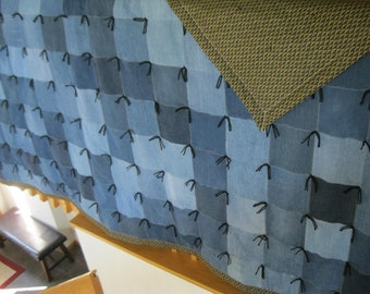 68x68 Large Handmade Denim and Cotton Floral Quilt with metallic accents