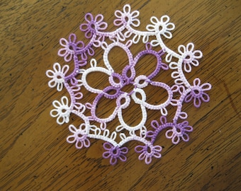 New Handmade Variegated Purple Tatted Lace Doily