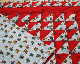 Flannel Red and Blue Train Baby Quilt