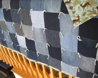 New Handmade Tied Denim Jean Lap Throw Deer Flannel Back Quilt Blanket