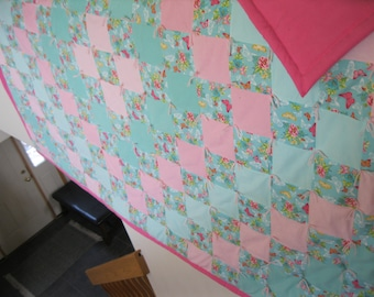 New Handmade Tied Queen Butterfly Teal Pink Flannel Quilt Blanket