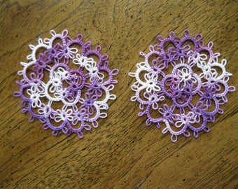 TWO New Handmade 3 Inch Variegated Purple Tatted Doilies
