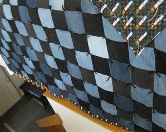 New Handmade Tied Twin Denim Jean Nascar Cotton Back Quilt Blanket