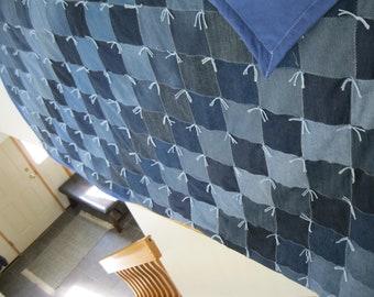New Handmade Tied Queen Denim Jean Blue Flannel Back Quilt Blanket