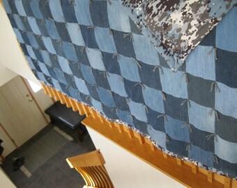 New Handmade Tied Twin Denim Jean Blue/Grey Camo Flannel Back Quilt Blanket