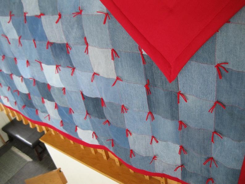 New Handmade Tied Twin Denim Jean Red FLANNEL Back Quilt Blanket