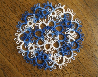 Handmade Small 4 Inch Variegated Dark Blue Tatted Lace Doily
