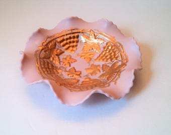 Porcelain Pink Ruffle Edge Bowl with Gold Painted Grapes and Leaves