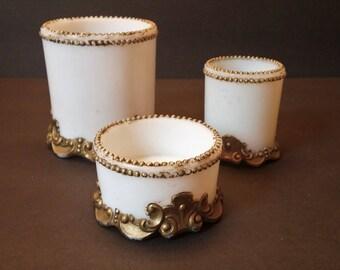 Victorian Milk Glass Vanity Open Jar Set - Antique circa 1900