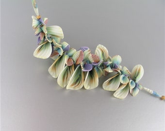 Bursting with Blossoms necklace in polymer clay