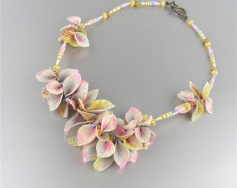 Effusive Flowering necklace in polymer clay