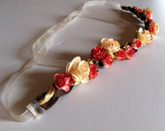 Cream and Saffron Rose with Brown and Gold Chord Flower Crown