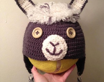 Crochet Llama Hat with Earflaps for Baby/Child