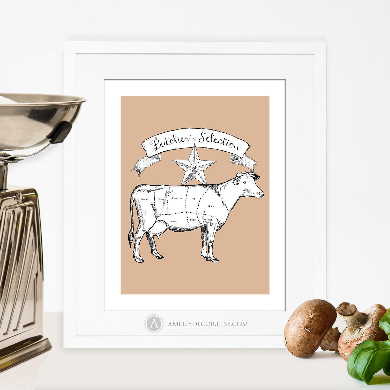 Cow Diagram Butcher Chart Printable Kitchen Decor Butcher