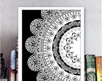 Mandala Wall Art Boho Poster Printable Pattern Boho Art Print Black & White Mandala Print Meditation Tool Yoga Studio Decor Digital Download