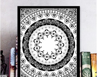 Boho Wall Art Mandala Print Mandala Poster Printable Art Black & White Pattern Print Meditation Art Sacred Geometry Decor Digital Download