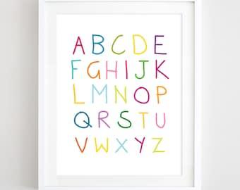 Alphabet Art Nursery Print Printable Alphabet Poster Multicolor Alphabet Letters Print Kids Wall Art ABC Poster Baby Gift Digital Download