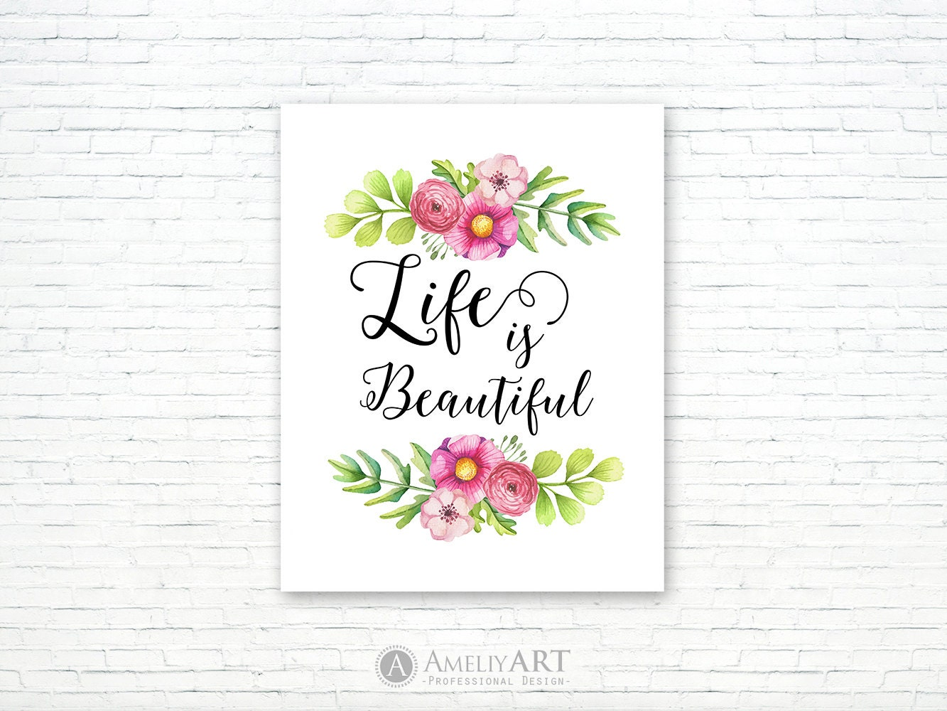 Life Is Beautiful Art Print Pink Floral Printable Wall Art Etsy