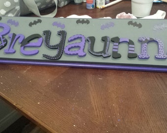 purple Batman sign wall name plaque girl hand painted