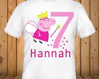 d20e6bbf2862 Peppa Pig Birthday Shirt - Add Any Name and Age - kids Birthday Shirts